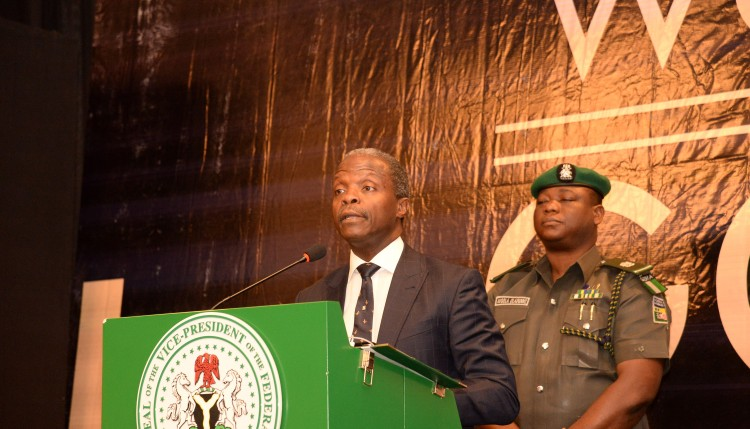 Vice President, Prof Yemi Osinbajo, delivering his Keynote Address at the WORDS IN GOLD Judicial Awards Event in Abuja